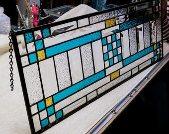 Arts & Crafts Stained Glass Panel  Blue with Gold Accents