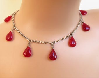 Beautiful 925 Sterling Silver and Red Quartz Heart Toggle Necklace