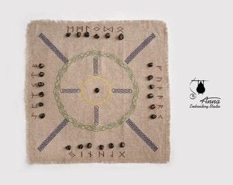 "Rune casting cloth. Embroidered divination cloth. The 9 Worlds. 19-20"". Rune mat. Elder futhark. Rune reading. Runes spread. Asatru. Odin"