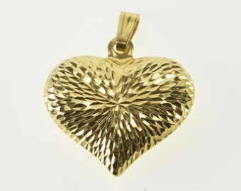 14K Grooved Burst Design Puffy Rounded Heart Pendant Yellow Gold
