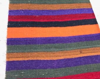 Wool Rug, Kilim,  2.23 x 12.13 ft, Flat Weave, vintage faded  muted rug, Pastel Kilim, Turkish Rug, Bohemian Rugs, Decorative Turkish kilim