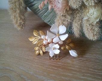 Bridal Blume Haare kämmen - Elfenbein und gold