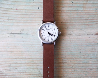 Hand painted Timex Weekender leather watch strap