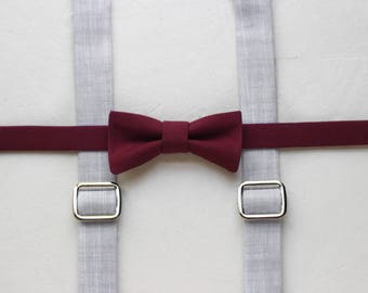 Burgundy toddler bow tie and suspenders marsala boys bow tie gray boys suspenders chambray baby suspenders toddler suspenders and bow tie