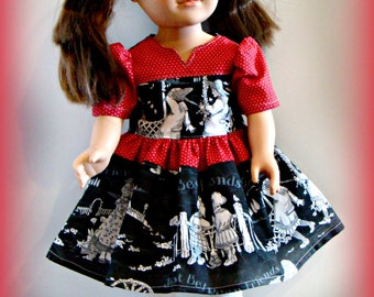 "A ""Best Friends"" Red Dress, Doll Outfit; for American Girl Style 18"" Dolls! School and Dress Up Doll Clothes."