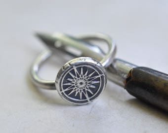 compass ring - compass wax seal ring … guidance, navigation, direction - silver nautical wax seal jewelry