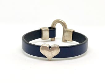 Navy Blue Leather Bracelet