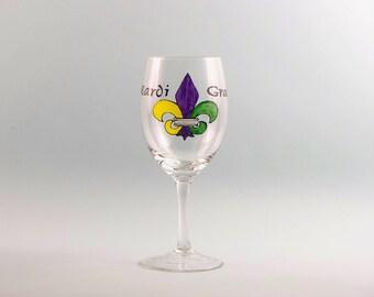 Hand Painted Mardi Gras Wine Glass - Painted Fleur de lis Wine Glass for Mardi Gras