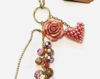 Rose Pink  * Gold  Bag Charm **Beautiful**