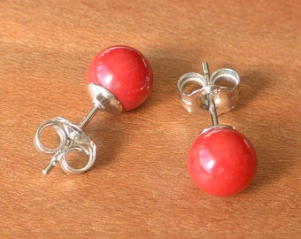 Red Bamboo Coral Earrings, Red Coral Bead Studs, Small 5 mm size bead, Sterling Silver posts and earbacks