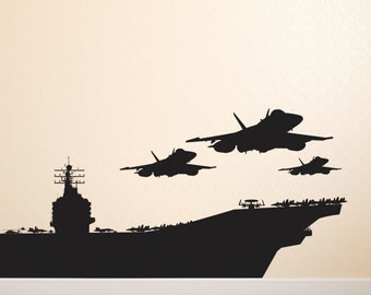 USS Aircraft Navy Carrier American Fighter Jets, Military ship,  Removable Wall Decor Decal Vinyl Sticker