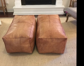 A rectangle Artisanal Leather Pouf HANDMADE Ottoman Moroccan pouf Leather Authentic