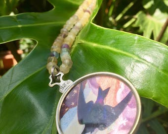 Purple & Yellow Flourite Necklace with Bird/Floral Pendant