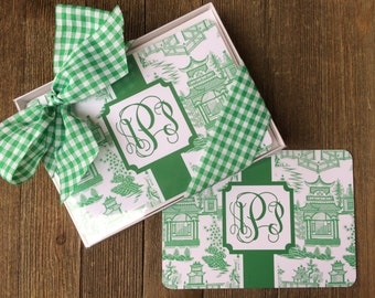 Green Chinoiserie Flat Note Cards and Envelopes, Set of 12 or 25