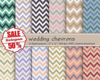 "SALE 50% "" Wedding Chevrons "" Digital Paper, Scrapbooking, Paper, 12x12, Printable, Pattern, Chevron, Texture, Background"