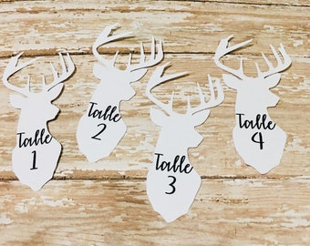 Deer Head Place/Table Cards/Cut Outs/Cutouts/Scrapbook pieces/Bachelorette/Wedding/Bridal/White/Engagement