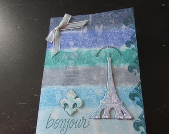 "French Happy Birthday Card, ""fetons ton anniversaire"", background Eiffel Tower and Fleur de lis"