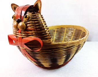Vintage Cat Basket Wicker Cat Basket Vintage Wicker Cat Basket Beautiful Cat Basket Wicker Basket