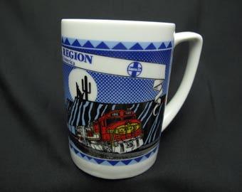 Vintage Santa Fe Central Region Trains Coffee Mug Tea Cup Railroad Southwest New Mexico Cactus Mountains Gift For Train Lover