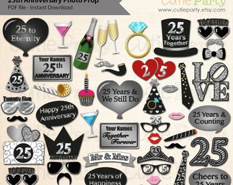 25th Anniversary Party Photo Booth Prop, Twenty Fifth Wedding Anniversary Party Printable, 25th Wedding Anniversary Party Printable
