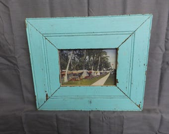 SHABBY ARCHITECTURAL Chic Salvaged Teal Recycled Wood Photo Picture Frame 5x7 189-17P