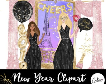 New Year Paris Clipart-Glitter Clipart-Party Clipart-Glam Clipart-Fashion Clipart- Basic Commercial License Included