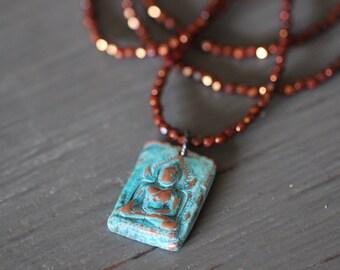 Buddha Necklace, Charm Necklace, Buddha Pendant, Copper, Aqua Patina, Thai Buddha, Buddha Charm, Boho Rustic, Yoga, Czech Glass, Popover