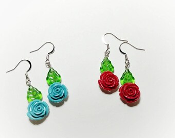 Rose Earrings, Red Rose Earrings, Turquoise Rose Earrings, Rose and Leaf Earrings, Floral Jewelry, Mom Gift, Sister Gift, Rose Jewelry