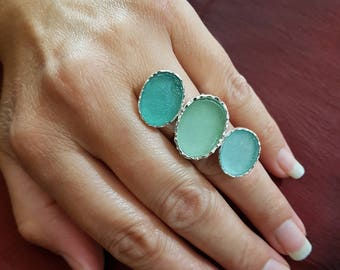 Stunning One Of A Kind Adjustable  3 Colors Roman Glass 925 Sterling Silver Ring