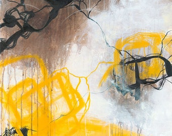 Tension - Yellow neutral abstract expressionism oil painting