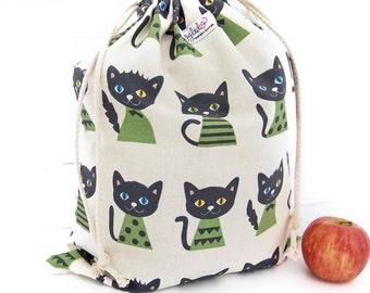 Large Drawstring Bag / Library Bag / Laundry Bag - Green Cats