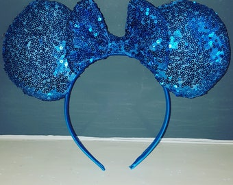 Blue Sequin Minnie Mouse Ears