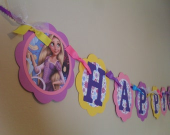 Rapunzel Happy Birthday Banner, Rapunzel Birthday, Rapunzel Party, Tangled Birthday, Princess Banner, Tangled Party, Tangled Ever After