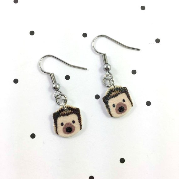 hedgehog, brown, earring, pendent, earring,  plastic, stainless hook, handmade, les perles rares