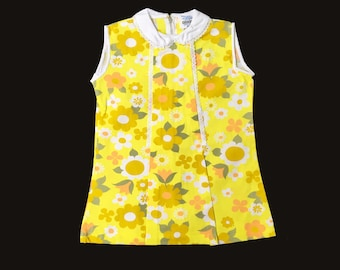 Vintage 60's Yellow Floral Pop  Mod Dress New Old  Stock  12-18 and 18-24M