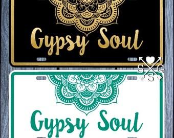 Gypsy Soul License Plate Bohemian Car Tag