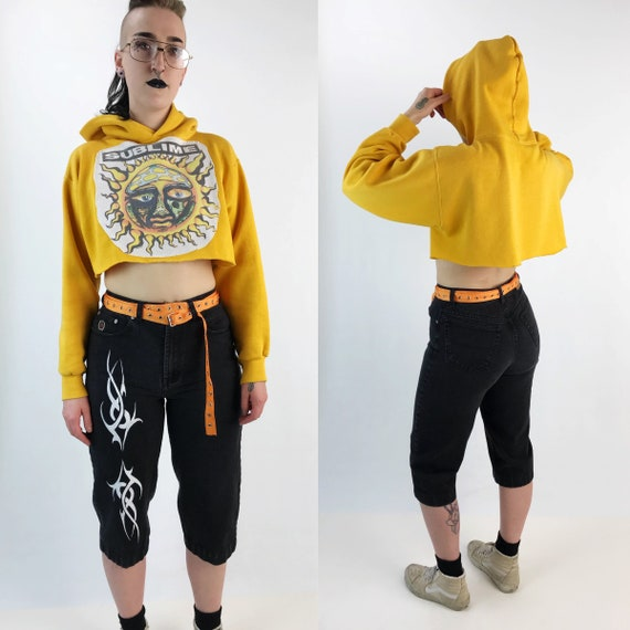 Sublime Cropped Pullover Hoodie Medium - Sunshine Yellow Remade Upcycled Band Logo Pullover Crop Top Long Sleeve - Rare SUBLIME Patch Hoodie