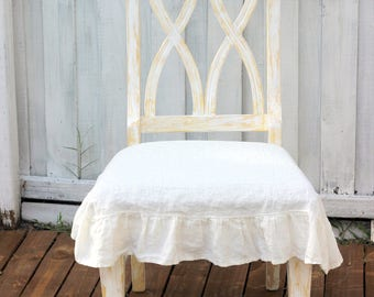 Stone Washed Linen Chair Seat Cover With Ruffle In Off White Small