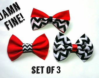 Twin Peaks inspired hair bow set