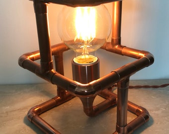 Copper pipe industrial lamp handmade steampunk rustic rose gold