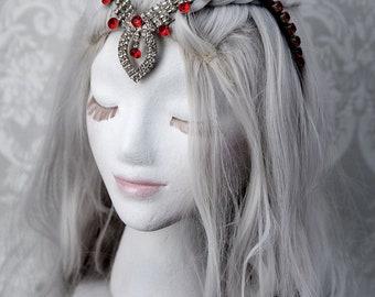 Rhinestone Headband  Red Queen's Tears   Red Queen Costume, Renaissance Circlet, Flapper Headpiece, Crystal Hair Piece, Circlet Headpiece
