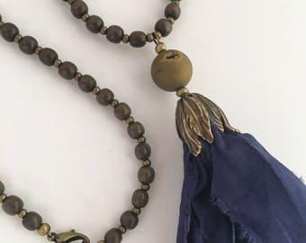 Navy Blue Sari Silk Tassel Necklace, Silk Tassel Necklace, Tassel Necklace, Boho Tassel Necklace, Long Tassel Necklace, Long Necklace
