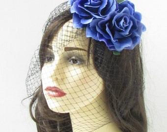 Blue Rose Flower Black Birdcage Veil Fascinator Vintage Headpiece Hair Clip 255