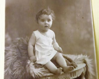 Antique Photo Postcard Sweet Little One from France Early 20th  Century