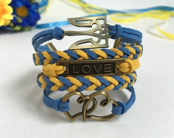 Love Ukraine Hearts bracelet Ukrainian Tryzub bracelet I love Ukraine jewelry Love Trident bracelet Yellow blue jewelry Ukrainian flag color