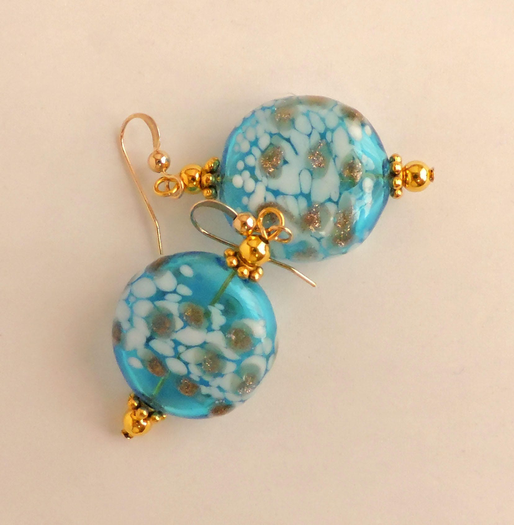 Gold Rush Earrings, Blue, White and Gold Earrings Dangling from Gold ...