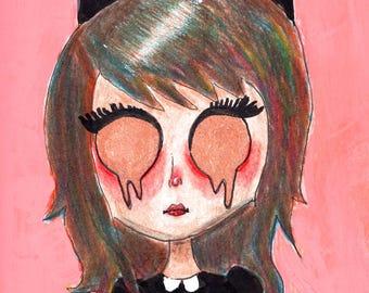 "8.5x11 Illustration Print ""Kitty Girl"""
