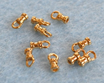 10pcs Crimp 4.5x3mm Tube With Loop Cord Ends Tip Gold-Plated Brass For 1.5mm Cord