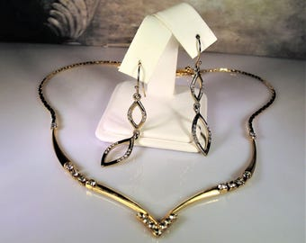 Rhinestone Chevron Necklace, Jewelry Set, Necklace & Earrings Set, Rhinestone Necklace, Rhinestone Dangle Earrings, Vintage Jewelry Set