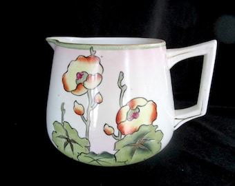 Antique Large Pitcher, Stout Water or Milk Pitcher, Nippon Japan, Floral Hand Painted, Farmhouse or Cottage Decor, 1910s